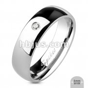 Stainless Steel Single CZ Classic Band Ring