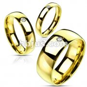 Gold IP with Single Gem over Stainless Steel Traditional Wedding Band Ring