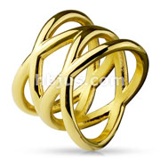 Double X Stainless Steel Rings Gold IP