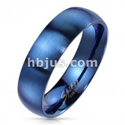 Matte Finish Surface and Shiny Polished Sides and Inside Classic Dome Blue PVD Stainless Steel Band Rings