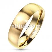 Matte Finish Surface and Shiny Polished Sides and Inside Classic Dome Gold PVD Stainless Steel Band Rings