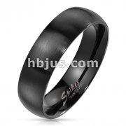Matte Finish Surface and Shiny Polished Sides and Inside Classic Dome Black PVD Stainless Steel Band Rings