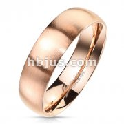 Matte Finish Surface and Shiny Polished Sides and Inside Classic Dome Rose Gold PVD Stainless Steel Band Rings