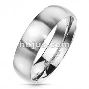 Matte Finish Surface and Shiny Polished Sides and Inside Classic Dome Stainless Steel Band Rings