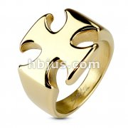 Iron Cross PVD Gold Stainless Steel Rings