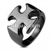 Iron Cross PVD Black Stainless Steel Rings