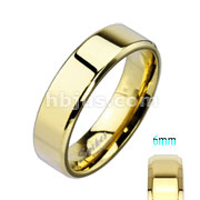 Assorted Sizes of Gold IP Over Stainless Steel Beveled Edge Flat Band Ring