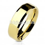 Beveled Edge Flat Band Gold IP Over Stainless Steel Ring