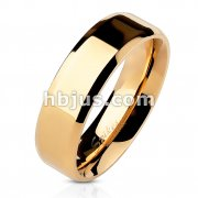 Beveled Edge Flat Band Rose Gold IP Over Stainless Steel Ring