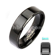 Assored Sizes of Black IP Over Stainless Steel Beveled Edge Flat Band Ring