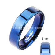 Assorted Sizes of Blue IP Over Stainless Steel Beveled Edge Flat Band Ring