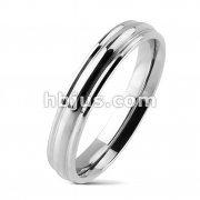 Plain Grooved Wedding Band 316L Stainless Steel Ring