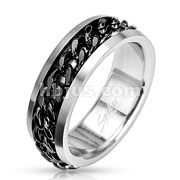 Spinning Center Black Chain 316L Stainless Steel Ring