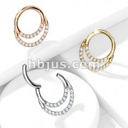 High Quality Precision All 316L Surgical Steel Hinged Segment Hoop Rings with CNC Set Double Lined CZ
