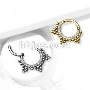 High Quality Precision All 316L Surgical Steel Hinged Segment Hoop Rings /CZ Paved Front with Ball Cluster
