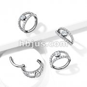 High Quality Precision All 316L Surgical Steel Hinged Segment Hoop Rings /Double CZ Paved Hoops with CZ Center