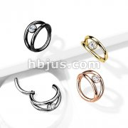 High Quality Precision All 316L Surgical Steel Hinged Segment Hoop Rings Double Hoop with CZ Center
