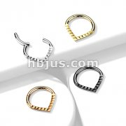 High Quality Precision All 316L Surgical Steel Hinged Segment Hoop Ring with Lined Pyramid Cuts Chevron