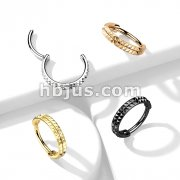 High Quality Precision All 316L Surgical Steel Hinged Segment Hoop Ring with Double Lined Pyramid Cuts