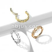 High Quality Precision All 316L Surgical Steel Hinged Segment Hoop Rings with Side Facing Hearts