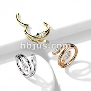 High Quality Precision All 316L Surgical Steel Hinged Segment with Double Vine Marquise CZ Ends