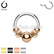 316L Surgical Steel Hinged Segment HoopRings with Steel beads