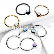 316L Surgical Steel Hinge Hoop Segment Rings with Opal Set Ball for Ear Cartilage, Nose Septum and More