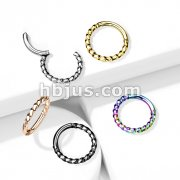 High Quality Precision All 316L Surgical Steel Hinged Segment Hoop Rings Twisted Steel