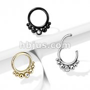 316L Surgical Steel Segment Hoop Rings with Graduated Balls and Bezel Set Crystal Center