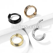316L Surgical Steel Hinged Segment Hoop Rings with Triple Layered Hoops