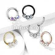 3 Bezel Set Crystals on 316L Surgical Steel Hinged Segment Hoop Rings