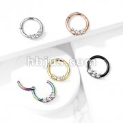 High Quality Precision 3-CZ Set All 316L Surgical Steel Hinged Segment Hoop Rings