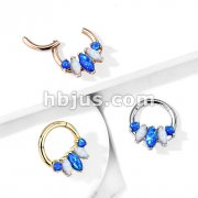 5-Marquise Opal Set 316L Surgical Steel Hinge Hoops for Ear, Nose Septum and More