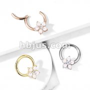 Opal Glitter Flower Centered 316L Surgical Steel Hinge Hoops for Ear Cartialge, Daith, Nose Septum and More