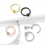 316L Surgical Steel Hinge Hoop Segment Rings with Ball for Ear Cartialge, Nose Septum and More