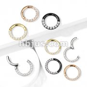 High Quality Precision All 316L Surgical Steel Hinged Segment Hoop Rings with CNC Set Front FacingCZ Paved