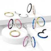 High Quality Precision All 316L Surgical Steel Hinged Segment Hoop Rings with Opal Set Outer Side