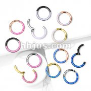 High Quality Precision Opal Set Front Side All 316L Surgical Steel Hinged Segment Hoop Rings