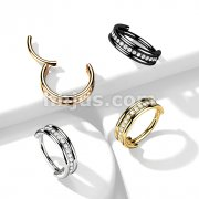 Implant Grade Titanium Hinged Segment Ring with Outward Facing Triple Stacked Center CZ Line
