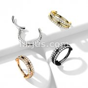 Implant Grade Titanium Hinged Segment Ring with Outward Facing Triple Stacked Double CZ Line