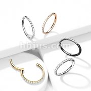 Implant Grade Titanium Hinged Segment Hoop Rings with CNC Set CZ Paved Outter side