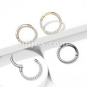 Implant Grade Titanium Hinged Segment Hoop Rings with CNC Set CZ Paved Fron