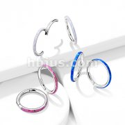 Implant Grade Titanium Hinged Segment Hoop Rings with Opal Lined  Outter side