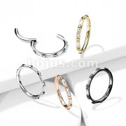 Implant Grade Titanium Hinged Segment Hoop Rings with Outward Facing Rectangular Baguette CZ