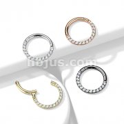 Implant Grade Titanium Hinged Segment Hoop Rings with CNC Set Opal Paved Front