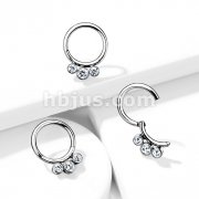 Implant Grade Titanium Hinged Segment Hoop Rings with 3 Inner Bezel Set Crystals