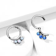 Implant Grade Titanium Hinged Segment Hoop Rings with 3 Inner Bezel Set Opals