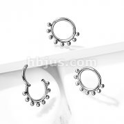 Implant Grade Titanium Hinged Segment Hoop Rings with Outer Decorative Spheres