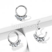Implant Grade Titanium Hinged Segment Hoop Rings with 5 Front Facing Bezel Set Crystals