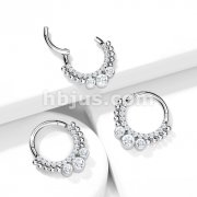 Implant Grade Titanium Hinged Segment Hoop Rings with CNC Set CZ Paved Front and 3 Bezel Set CZ